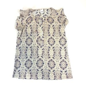 CABI Flutter Sleeve Blouse Blue & White Size M